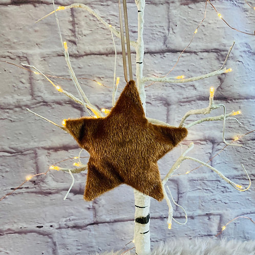 Copper Faux Fur Hanging Star