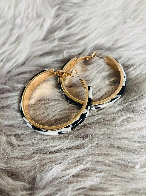 Black & White Tortishell Hoop Earrings