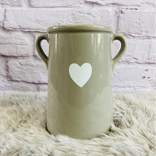 Grey Vase with White Heart - Large