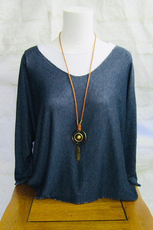 Navy Layered Top with Necklace