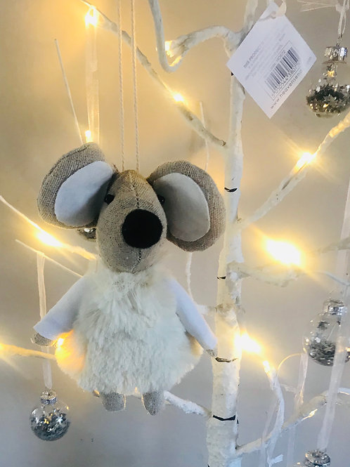Cute Mouse in Cream Outfit Hanging Decoration