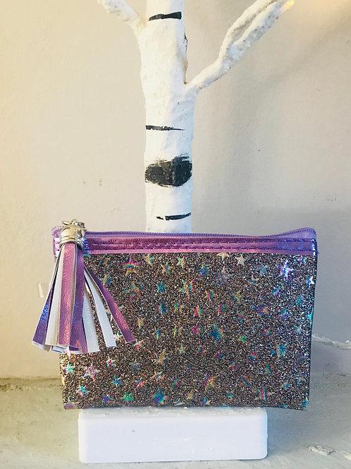 Purple Glitter Star Purse