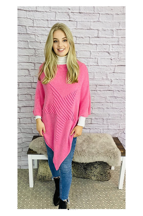 Ribbed Star Poncho in Fuchsia Pink
