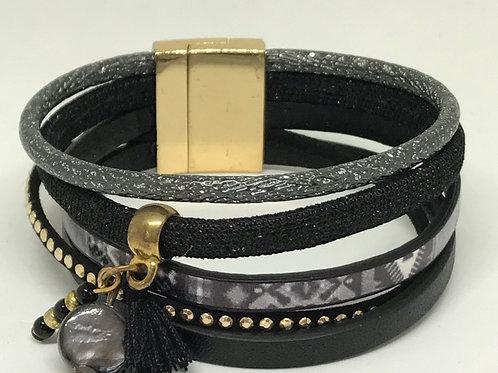 Black Tassle & Bead Cuff Bracelet