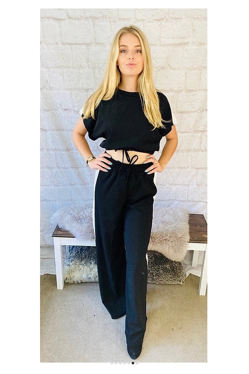 Black with White Stripe Loungewear Set