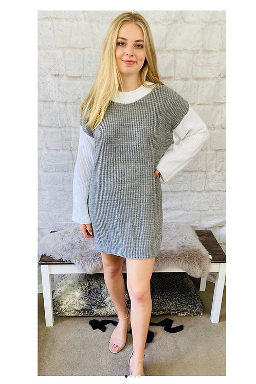 Grey and White Knitted Jumper Dress