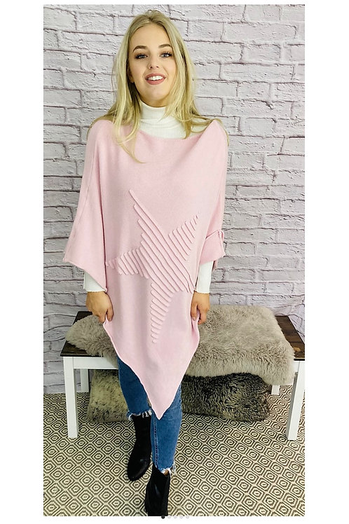 Ribbed Star Poncho in Baby Pink
