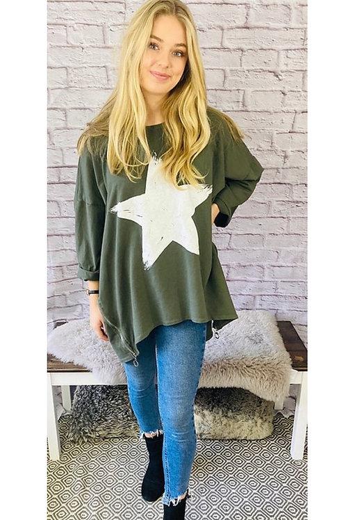 Star Oversized Top in Khaki