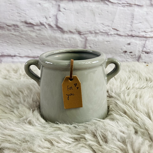 'For you' Small Grey Pot/Planter