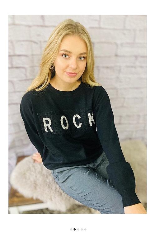 'Rock' Sequin Jumper in Black