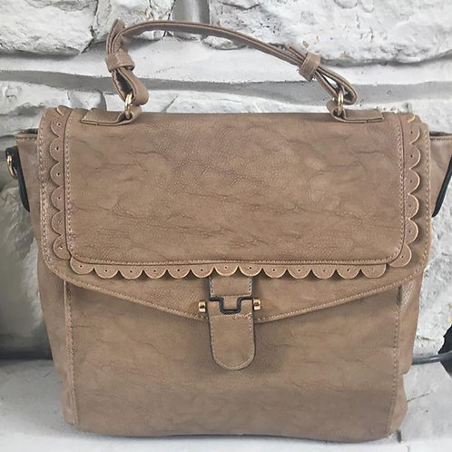 Beige Scalloped Edge Handbag