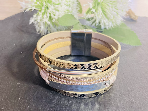 Animal Print Multi Strand Magnetic Bracelet