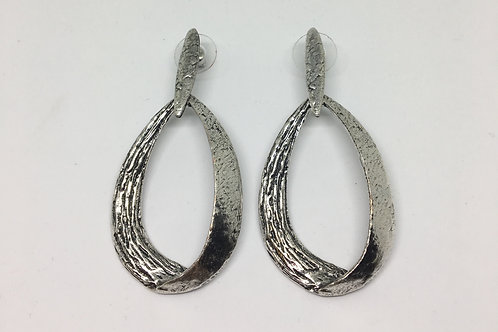 Silver Drop Loop Earrings