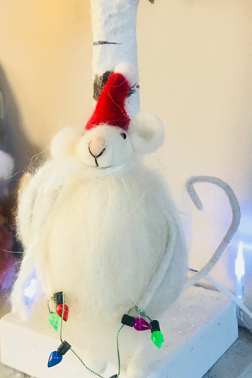 'Mikyla' Fluffy Mouse with Fairy Lights