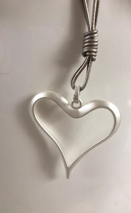 Large silver heart cord necklace aloadofball Choice Image