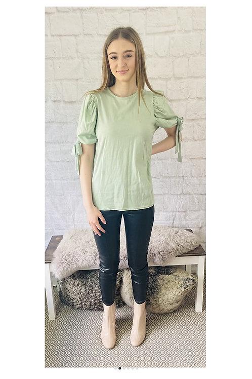 Mint Tie Up Puffed Sleeve T-Shirt