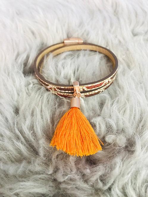 Orange Boho Tassel Bracelet