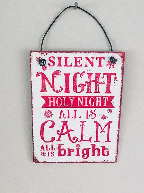 Silent Night mini metal sign