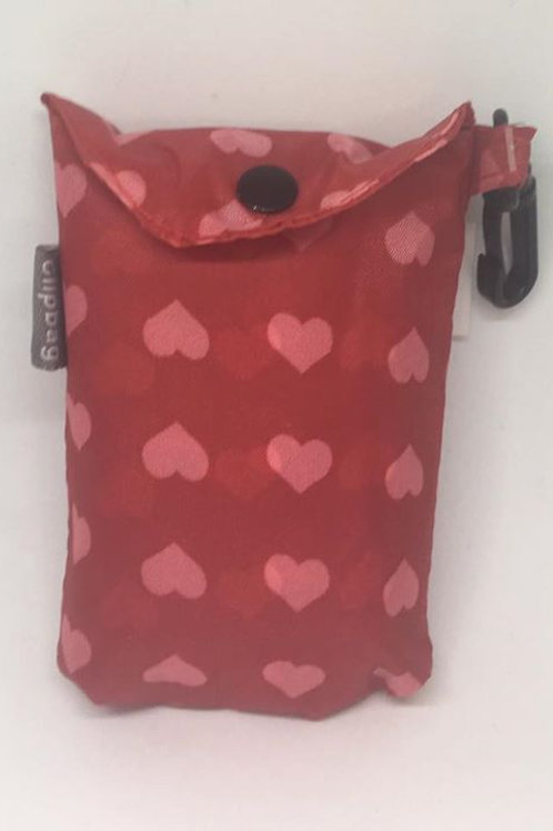 Red Hearts Clip Bag
