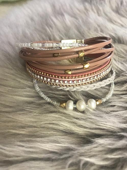 Pink Multistrand Cuff Bracelet