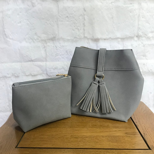 Grey Suede Bucket Bag with Matching Clutch
