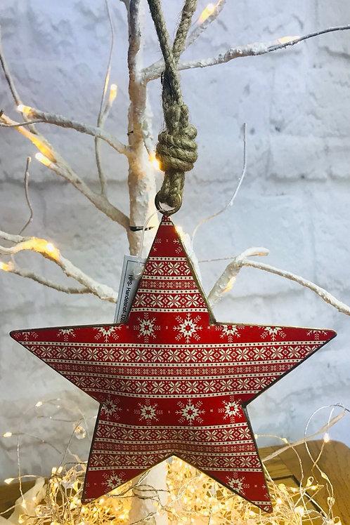 Red Nordic Pattern Metal Star