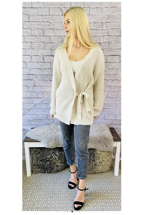 Wrap Tie Front Knitted Cardigan in Beige