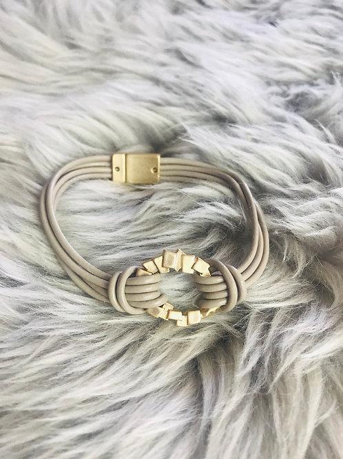 Irregular Circle on Leather Bracelet