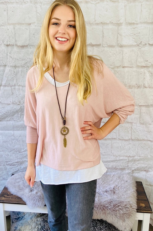 Pink Layered Top with Necklace