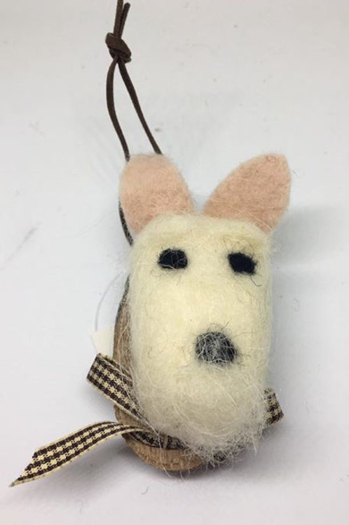 Woolly mounted white dog head