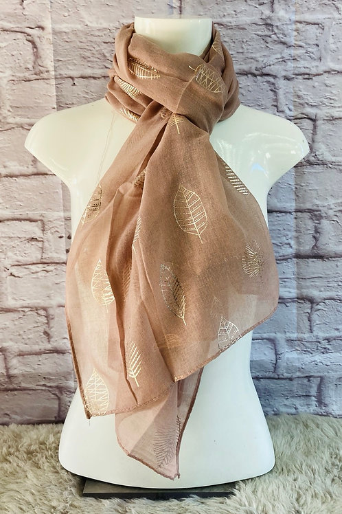 Rose Gold Leaf Print Scarf in Pink