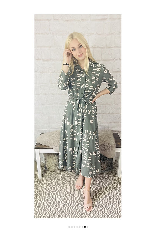 Letter Print Maxi Dress in Sage