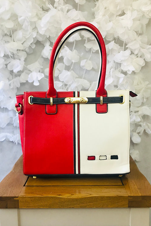 Red/White Contrasting Tote
