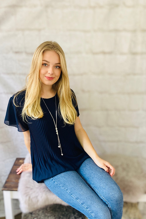 Pleated Floaty Top with Necklace in Navy