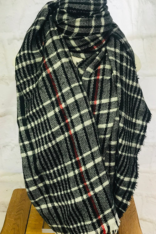 Black/White Check Scarf