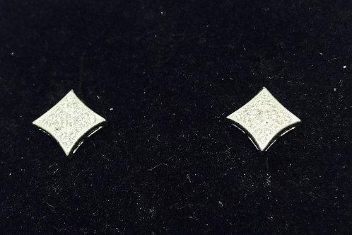 Diamond Shape Diamante Earrings - Silver