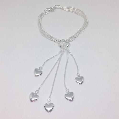 Silver hearts drop bracelet