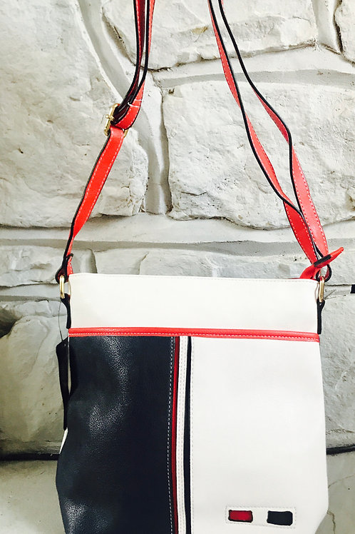 Blue/White Patchwork Crossbody Bag