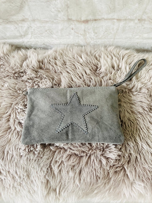 Suede Star Clutch Bag in Grey