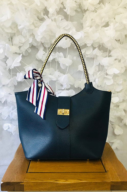 Navy Handbag with Ribbon Detail