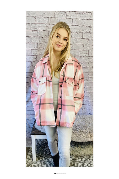 Checked Shacket in Pink