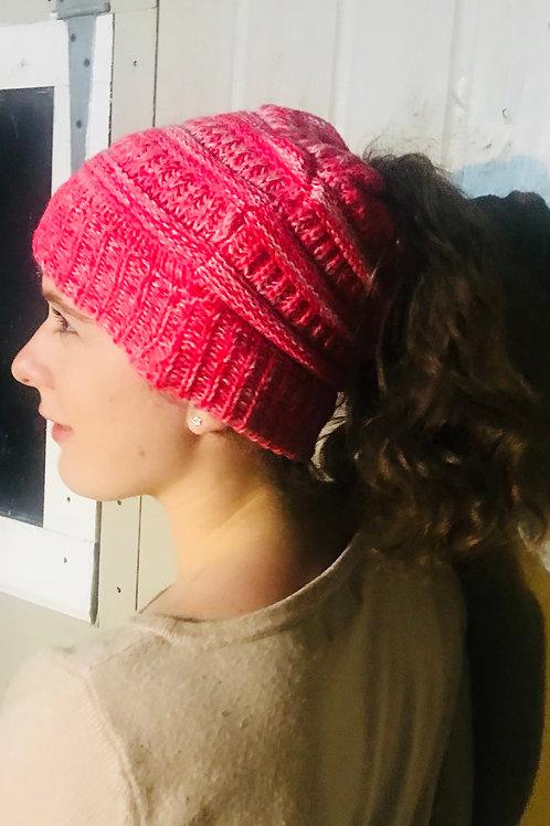 Bright Pink Ponytail Beanie