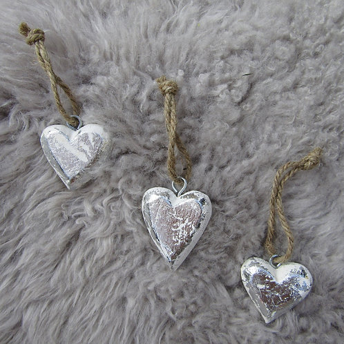 Set of Three Wooden Silver Hearts