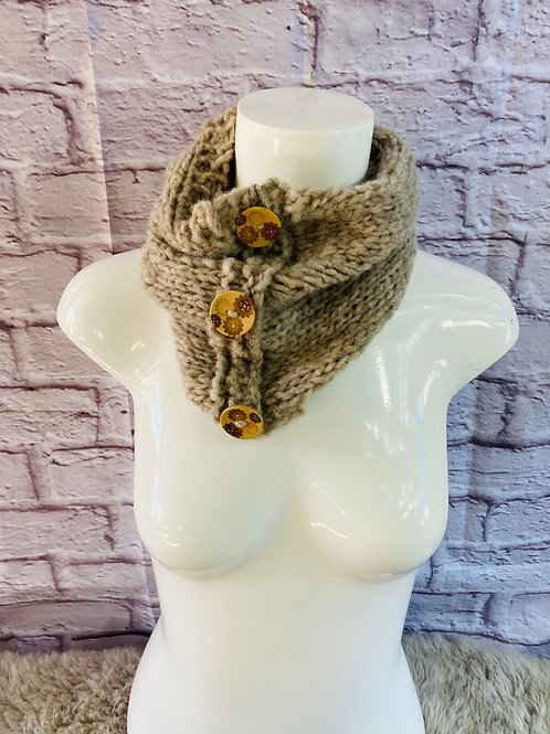 Knitted Button Snood in Beige