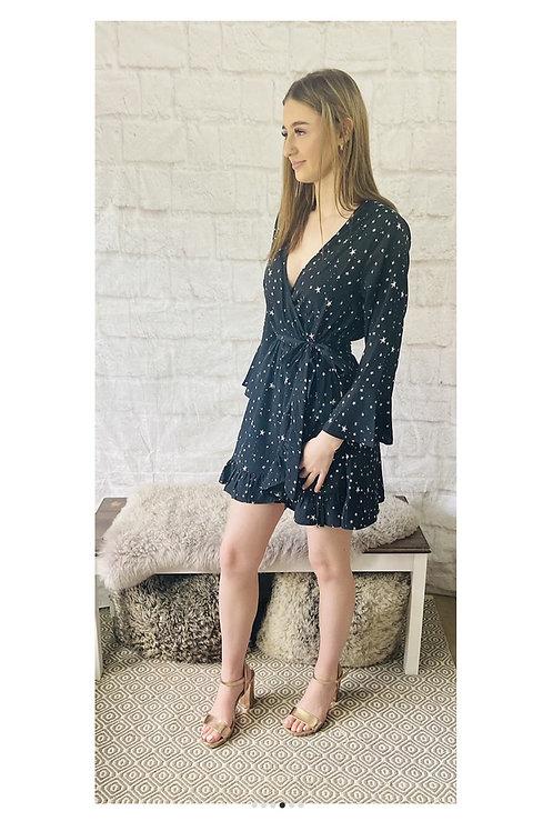 Star Print Wrap Front Mini Dress