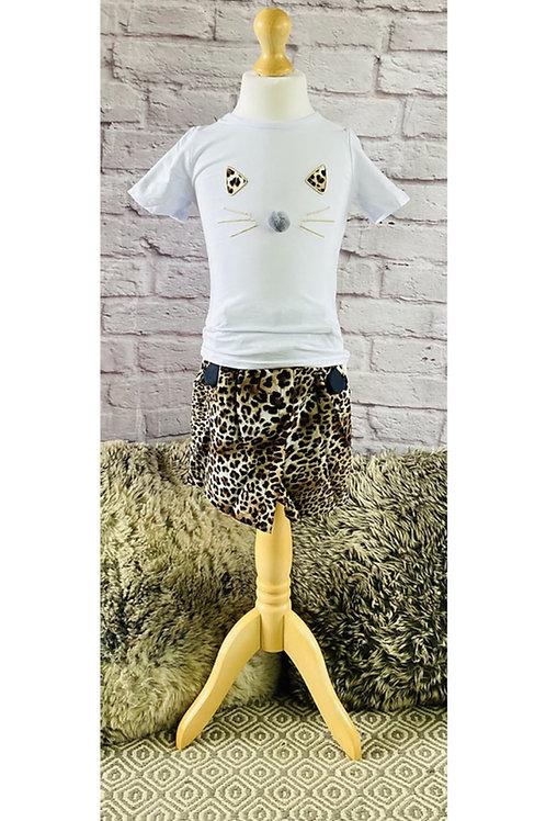 Leopard Cat T-Shirt & Shorts Set