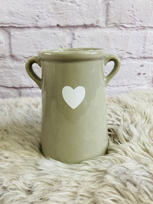 Grey Vase with White Heart - Small