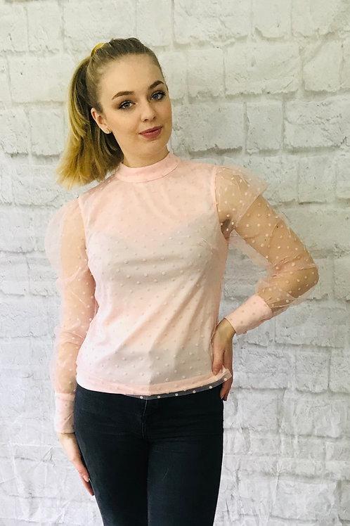 Pink Polka Dot Sheer Sleeve Top