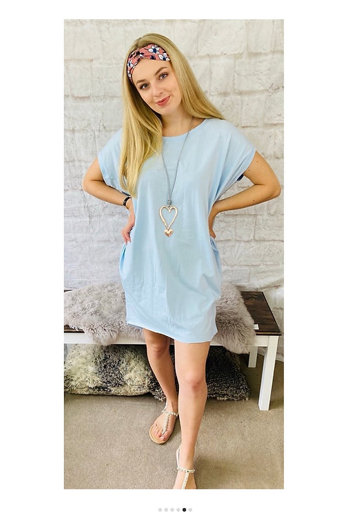Oversized Top with Statement Necklace in Baby Blue