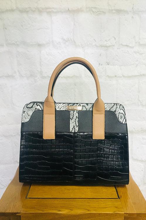 Black & Snakeskin Tote Handbag